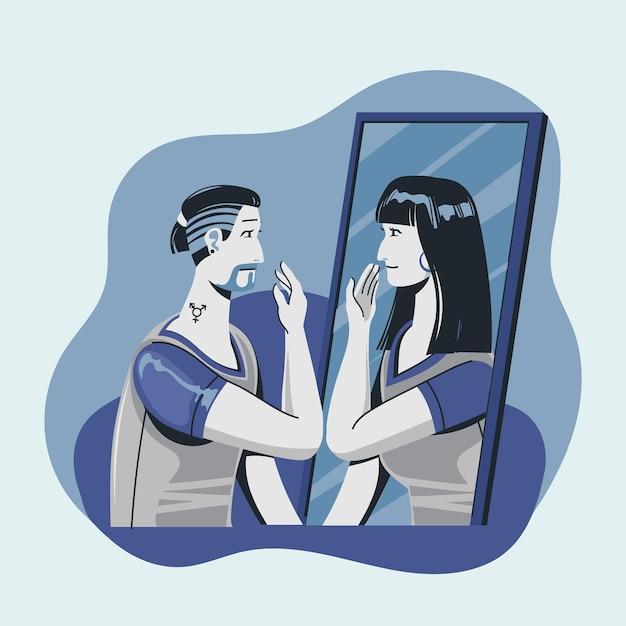 Illustration des geschlechtsidentitätskonzepts Kostenlosen Vektoren