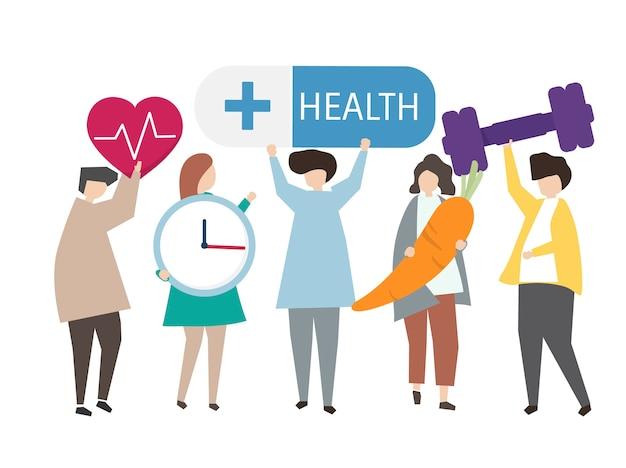 Illustration des gesunden lebensstils Kostenlosen Vektoren