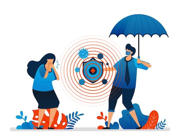 Illustration des gesundheitsschutzes und der finanziellen sicherheit Premium Vektoren