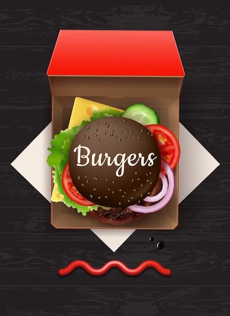 Illustration des großen cheeseburger mit schwarzem brötchen und sesam im roten karton, draufsicht auf holztisch mit ketchup und serviette. Premium Vektoren