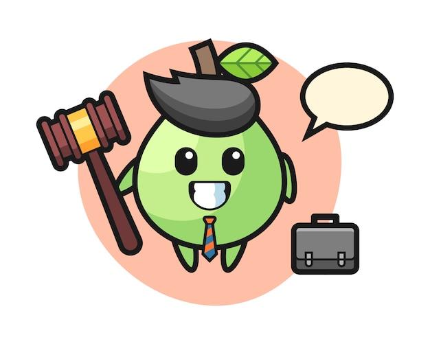 Illustration des guavenmaskottchens als anwalt, niedliches artdesign für t-shirt, aufkleber, logoelement Premium Vektoren