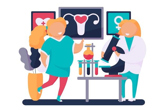 Illustration des gynäkologen und der schwangeren frau Kostenlosen Vektoren