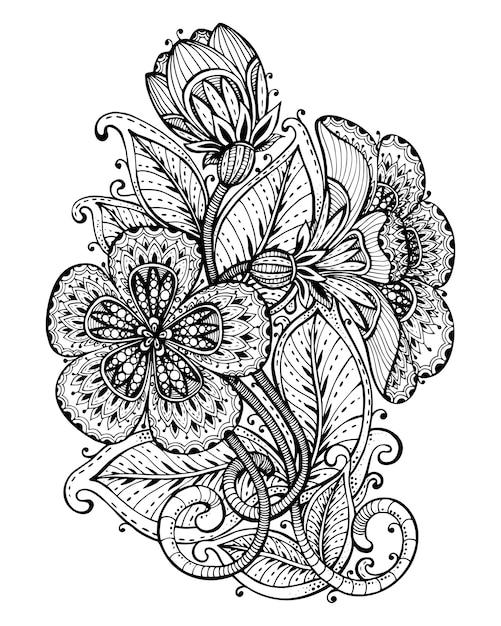 Illustration des handgezeichneten ausgefallenen blumenzweigs und der blätter. schwarzweiss-grafik für tätowierung, druck, malbuch. auf weißem hintergrund. Premium Vektoren