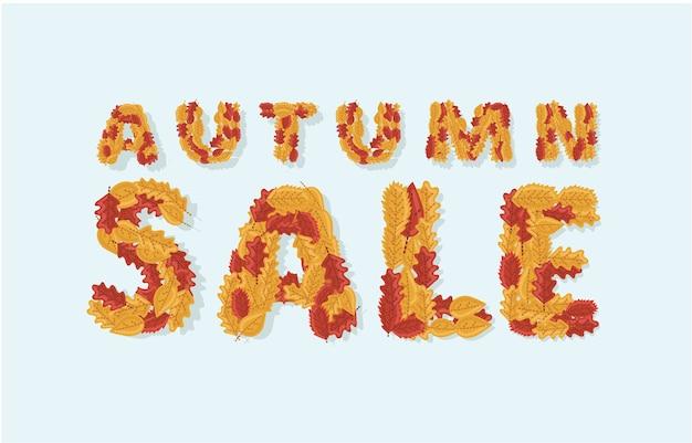 Illustration des herbstverkaufsbanners mit buntem text der saisonalen herbstblätter im weißen hintergrund für einkaufsrabattförderung. Premium Vektoren