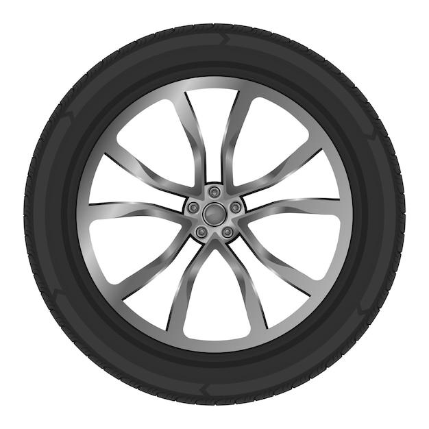Illustration des isolierten rades des autos auf weiß Premium Vektoren