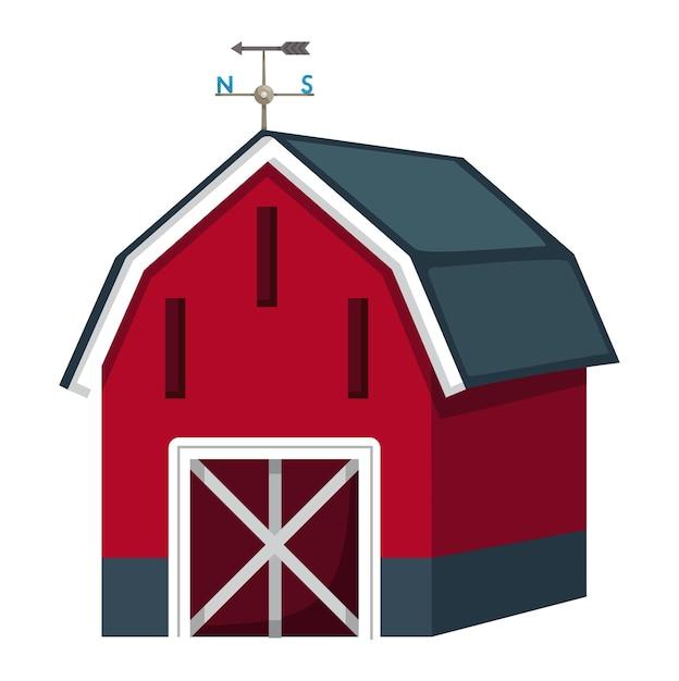 Illustration des isolierten scheunenhauses auf einem weißen hintergrund Premium Vektoren