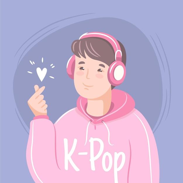 Illustration des k-pop-musikkonzepts Kostenlosen Vektoren