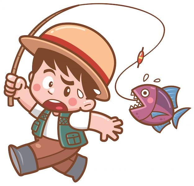 Illustration des karikaturfischens junge, der fische erschrickt Premium Vektoren