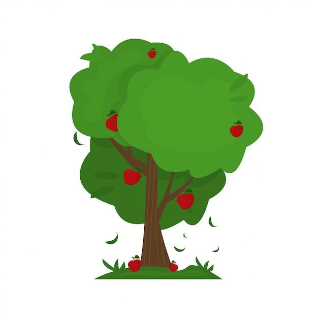 Illustration des karikaturzusammenfassungs-apfelbaums. Premium Vektoren