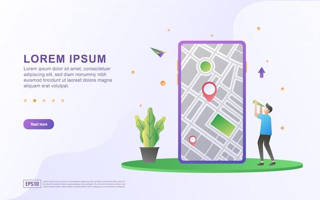 Illustration des kartenstandorts und der wegbeschreibung mit smartphone und kartensymbol. Premium Vektoren