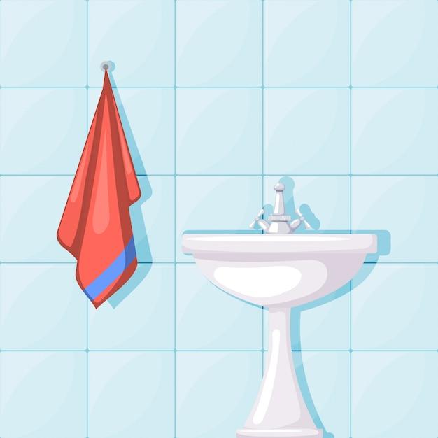 Illustration des keramischen waschbeckens des badezimmers, der fliesenwände und des roten tuches. cartoon-stil. einrichtung badezimmer Premium Vektoren