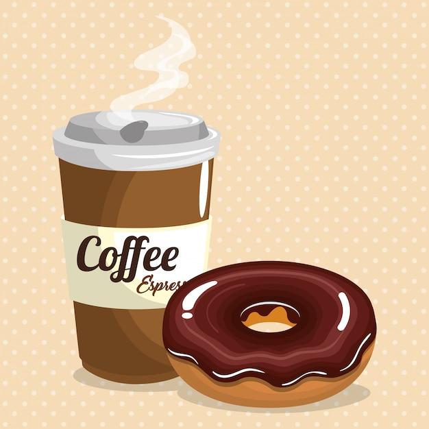 Illustration des köstlichen kaffeeplastiktopfes und -donuts Kostenlosen Vektoren