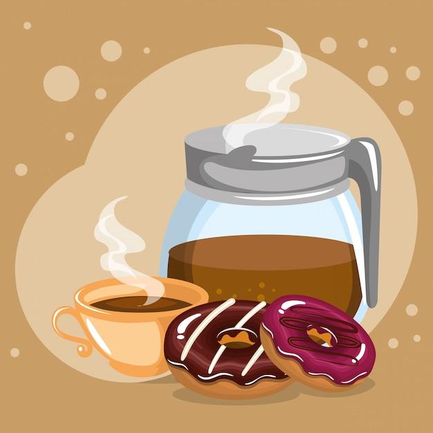 Illustration des köstlichen kaffees in der teekanne und in den donuts Kostenlosen Vektoren