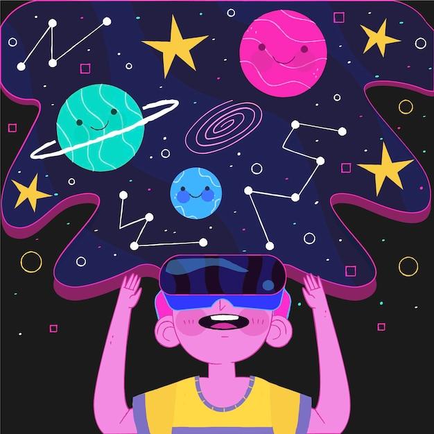 Illustration des konzepts der virtuellen realität Kostenlosen Vektoren