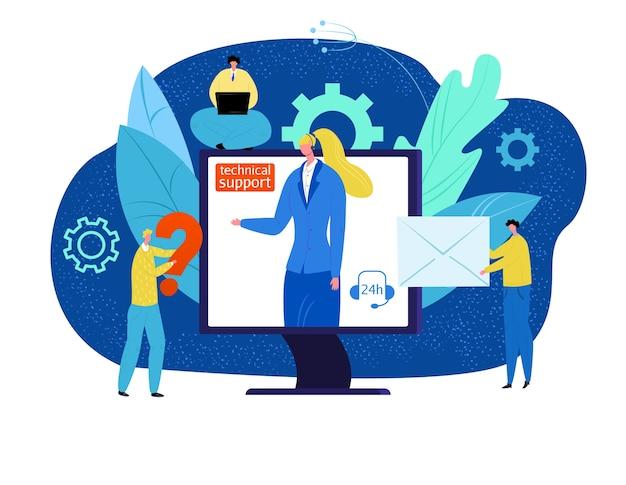 Illustration des konzepts des technischen supports. online-kunden helfen, betreiber im headset im computer. professionelle unterstützung. helpdesk-berater telefonisch. kunden wenden sich an das technische zentrum. Premium Vektoren