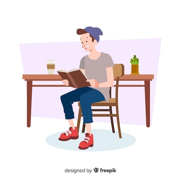 Illustration des lesens der jungen leute Kostenlosen Vektoren