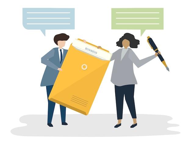 Illustration des leuteavatara-geschäftsvereinbarungskonzeptes Kostenlosen Vektoren