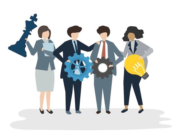 Illustration des leutevatara-geschäftsteamwork-konzeptes Kostenlosen Vektoren