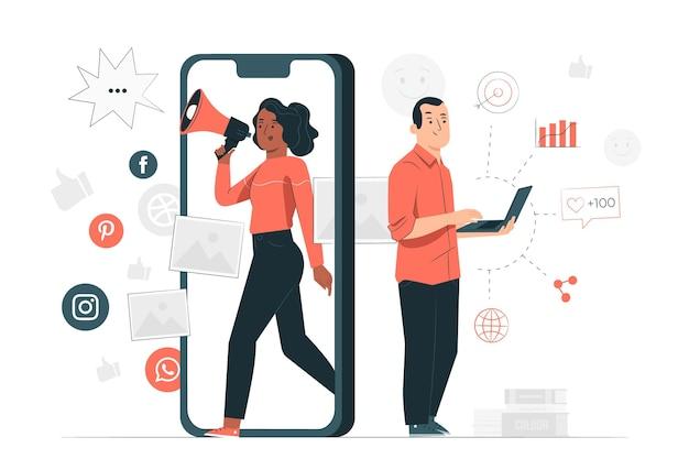 Illustration des marketingkonzepts Kostenlosen Vektoren