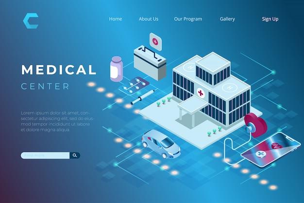 Illustration des medizinischen und gesundheitszentrums im isometrischen 3d-stil Premium Vektoren