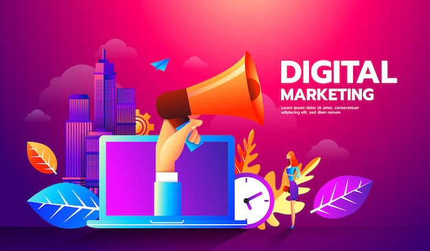 Illustration des megaphons und der verschiedenen ikonen für digital-marketing-konzept. Premium Vektoren