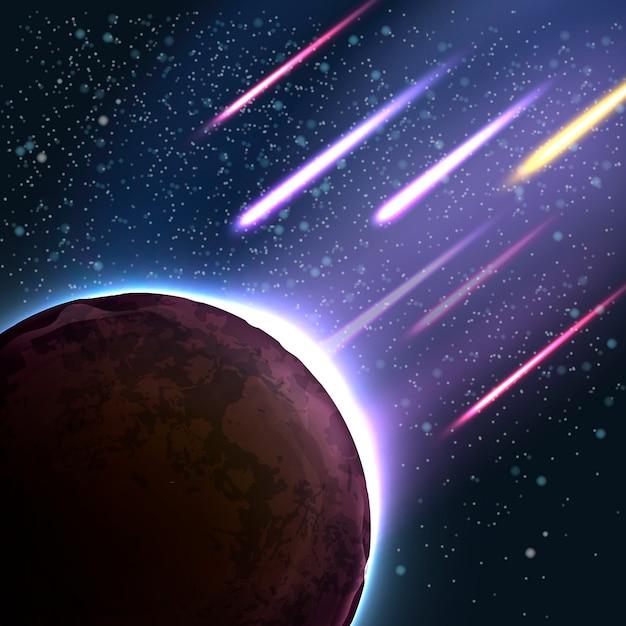 Illustration des meteoritenschauers auf einem planeten. fallender meteorit, asteroid, komet dringt in die atmosphäre ein. apokalyptischer hintergrund Premium Vektoren