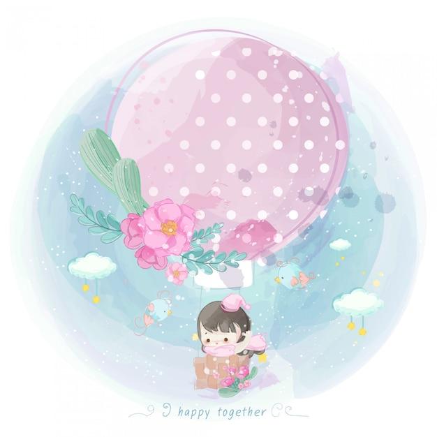Illustration des netten mädchens auf einem heißluftballon Premium Vektoren