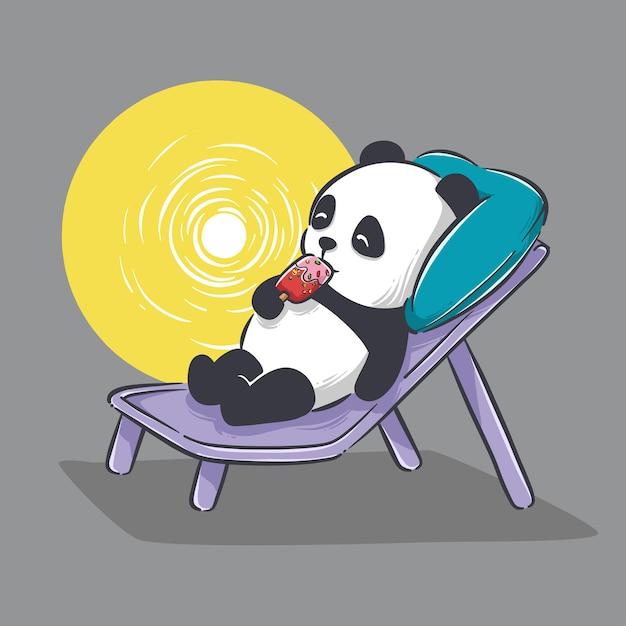Illustration des niedlichen kleinen pandas, der eiscreme und entspannenden cartoon isst Premium Vektoren