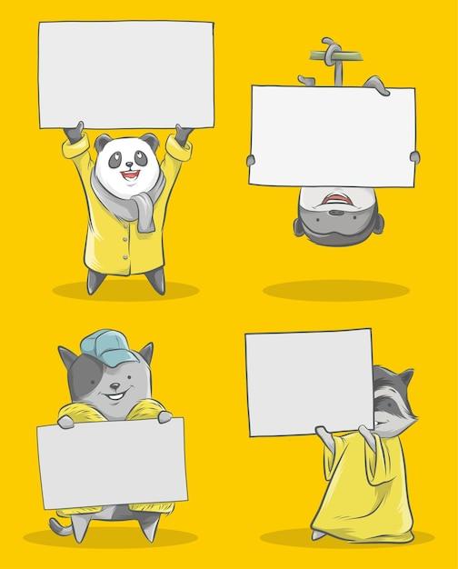 Illustration des niedlichen kleinen pandas und des kleinen affen und der kleinen katze Premium Vektoren