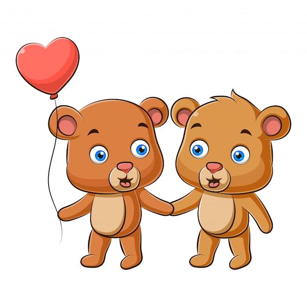 Illustration des niedlichen paares des teddybären Premium Vektoren