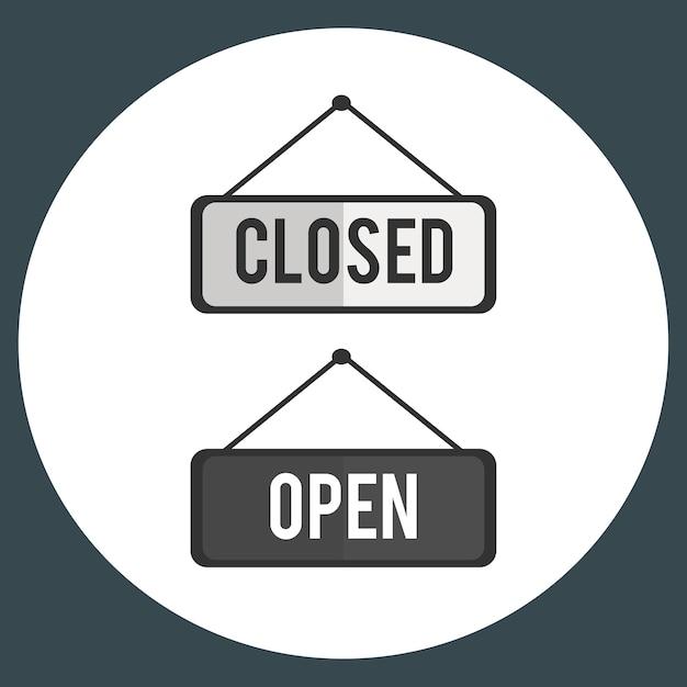 Illustration des offenen und nahen zeichenvektors Kostenlosen Vektoren