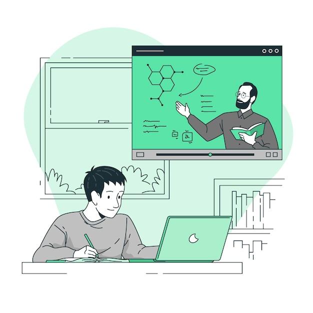 Illustration des online-lernkonzepts Kostenlosen Vektoren