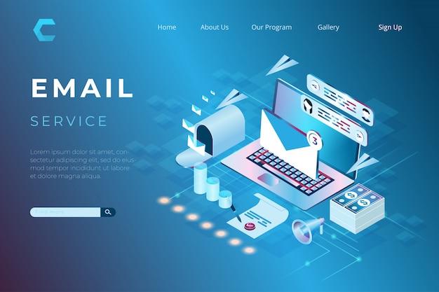 Illustration des online-marketings per e-mail, online-support-services mit dem konzept von isometrischen landing pages und web-headern Premium Vektoren