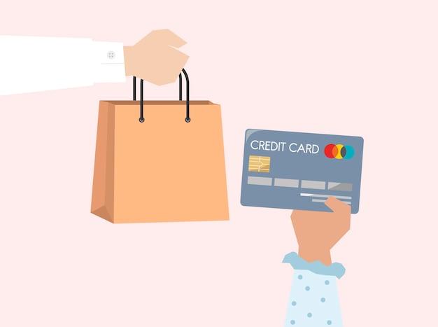 Illustration des onlineeinkaufs mit kreditkarte Kostenlosen Vektoren