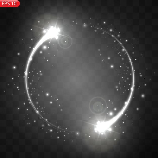 Illustration des realistischen fallenden kometen isoliert. sternschnuppenmeteor mit schwanz Premium Vektoren