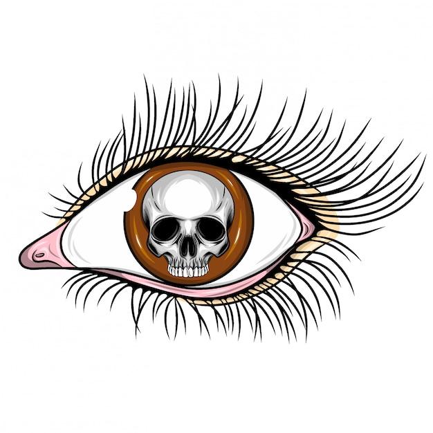 Illustration des realistischen menschlichen auges mit tag des toten schädels Premium Vektoren