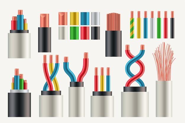 Illustration des realistischen satzes verschiedene farben und arten von elektrischen drähten und kabeln isoliert auf weißem hintergrund Premium Vektoren