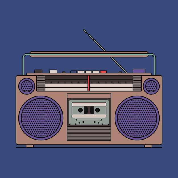 Illustration des retro-kassettenrekorders lokalisiert auf blauem hintergrund. gliederungssymbol. Premium Vektoren