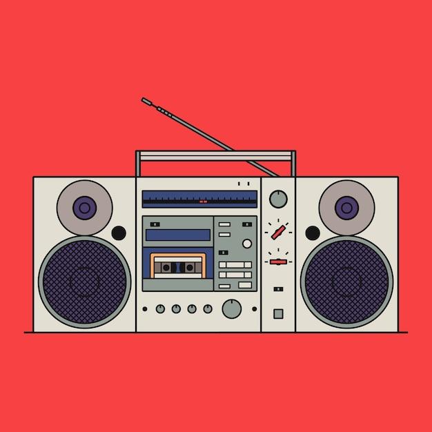 Illustration des retro-kassettenrekorders lokalisiert auf rotem hintergrund. gliederungssymbol. Premium Vektoren