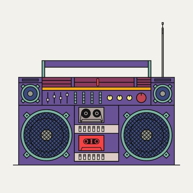 Illustration des retro-kassettenrekorders lokalisiert auf weißem hintergrund. gliederungssymbol. Premium Vektoren