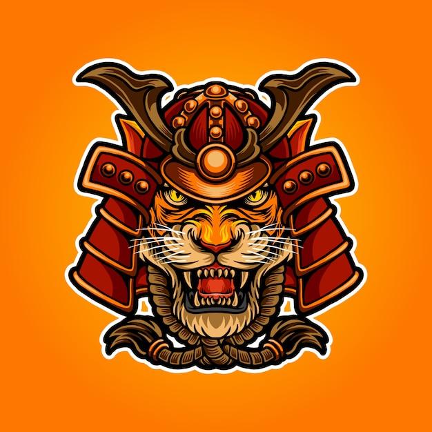 Illustration des samuraitigers Premium Vektoren