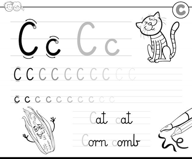 Illustration des schreibens-arbeitsbuches mit buchstaben c für kinder Premium Vektoren