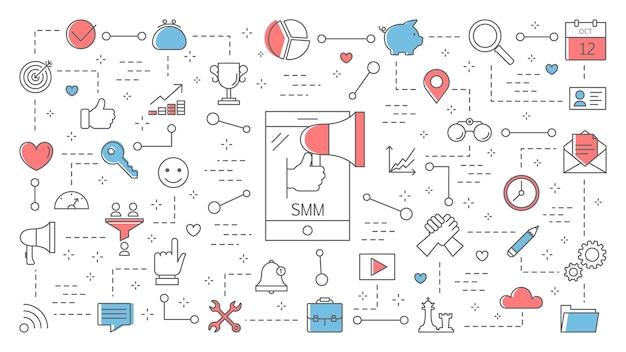 Illustration des smm- oder social media-marketingkonzepts. unternehmensförderung und werbung im internet. kommunikation mit dem kunden. linienillustration Premium Vektoren