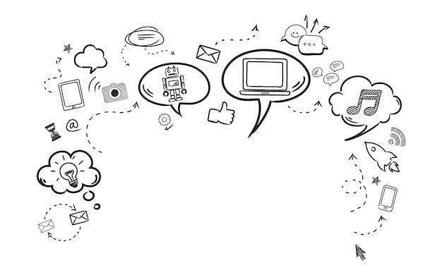 Illustration des social media-konzeptes Kostenlosen Vektoren