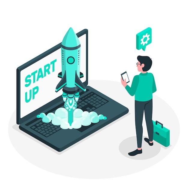 Illustration des startup-lebenskonzepts Kostenlosen Vektoren