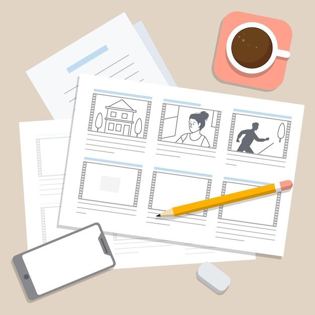 Illustration des storyboard-prozesses Kostenlosen Vektoren