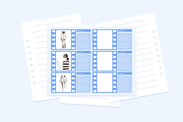 Illustration des storyboard-prozesses Premium Vektoren