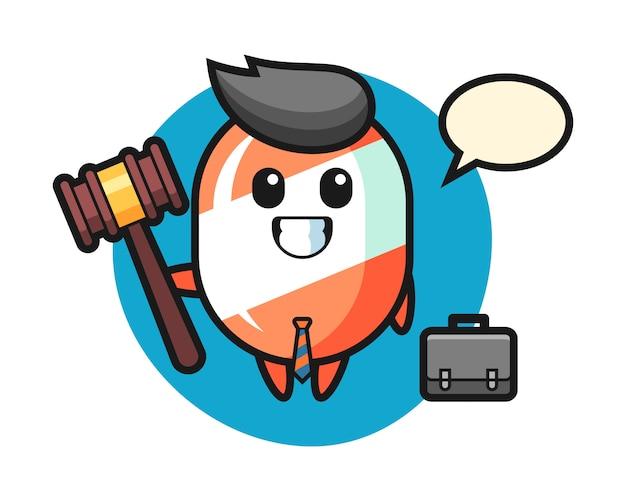 Illustration des süßigkeitenmaskottchens als anwalt Premium Vektoren
