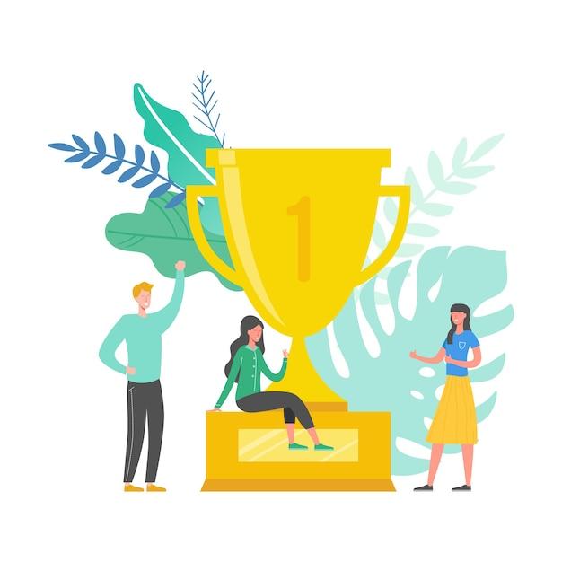 Illustration des teamerfolgskonzepts. wirtschaftsführer feiern den sieg. mann und frau erreichen belohnung. geschäftsmann und geschäftsfrau gewinnen trophäe. siegpreis Premium Vektoren