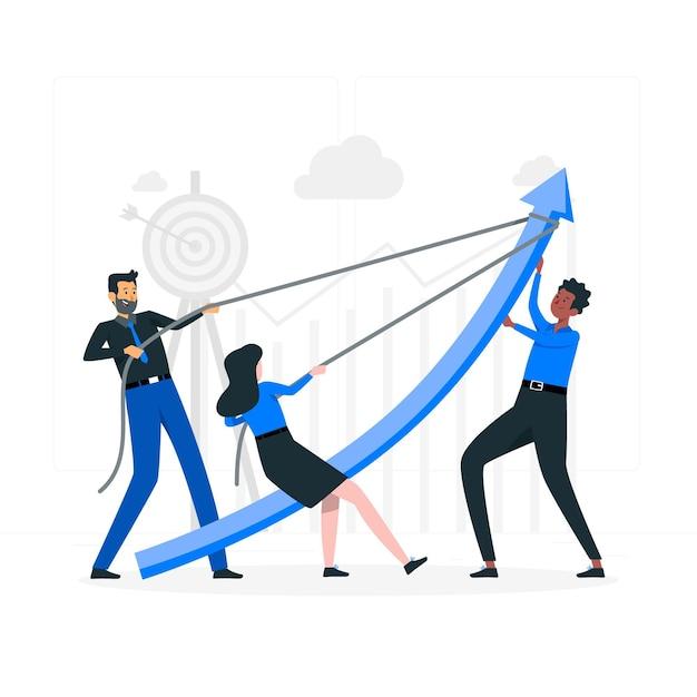 Illustration des teamzielkonzepts Kostenlosen Vektoren